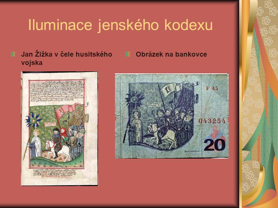 Iluminace jenského kodexu Jan Žižka v čele husitského vojska Obrázek na bankovce