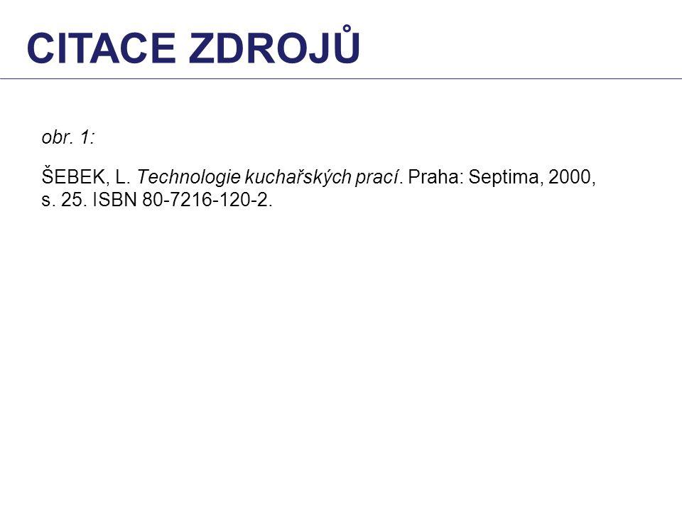 obr. 1: ŠEBEK, L. Technologie kuchařských prací. Praha: Septima, 2000, s. 25. ISBN 80-7216-120-2. CITACE ZDROJŮ