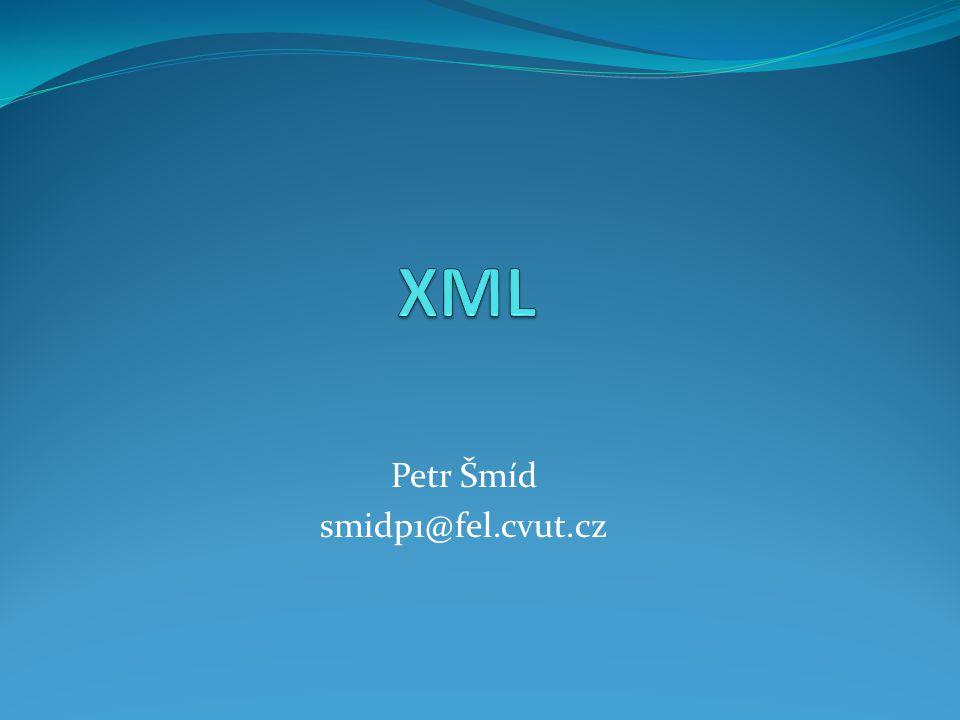 """XML Schema Pozor na terminologii XML schéma = přípustná struktura XML dat, popsaná v některém z existujících jazyků (DTD, XML Schema…) XML Schema = jazyk pro popis struktury dokumentu """"XML schéma v jazyce XML Schema"""
