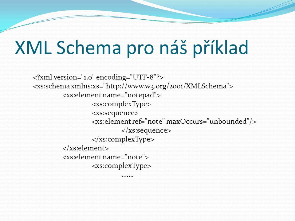 XML Schema pro náš příklad …….
