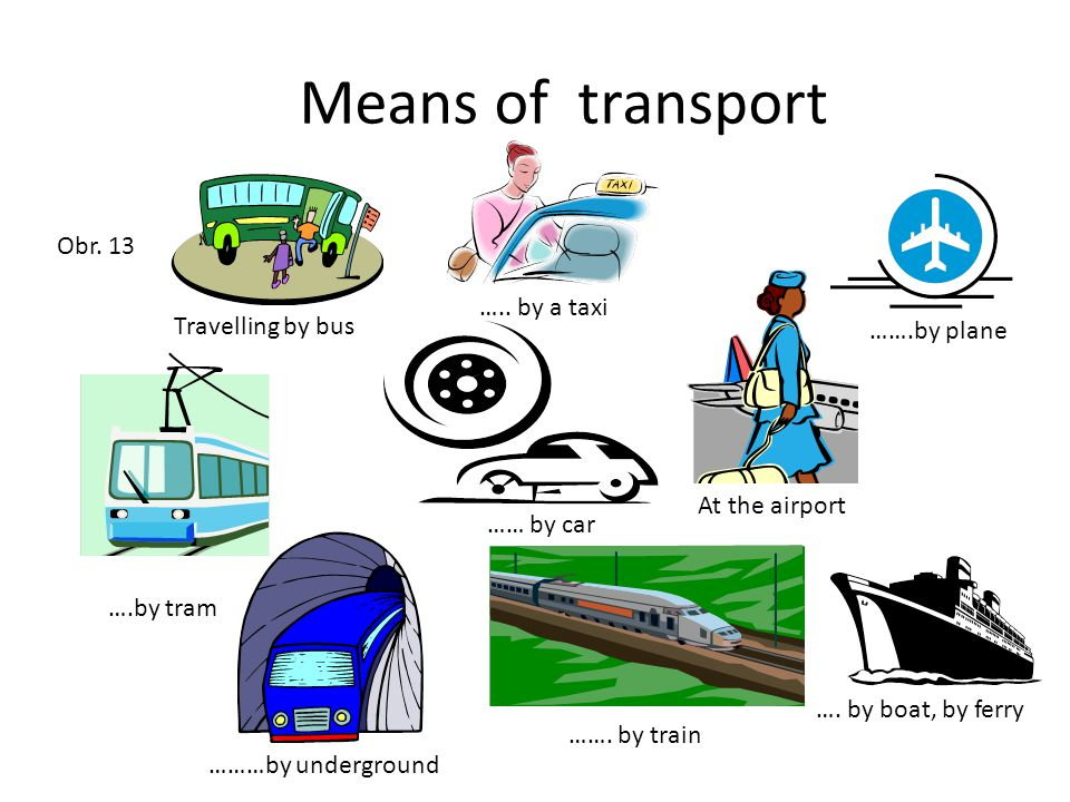 Means of transport Travelling by bus ….. by a taxi …… by car …….by plane At the airport ….by tram ………by underground ……. by train …. by boat, by ferry