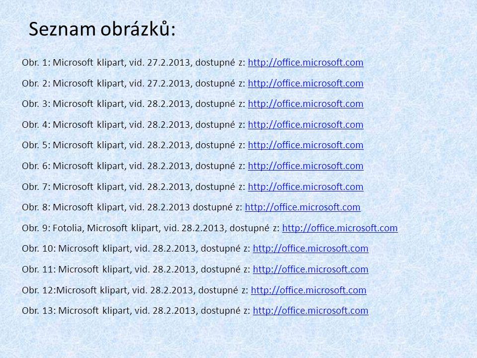 Seznam obrázků: Obr.1: Microsoft klipart, vid.
