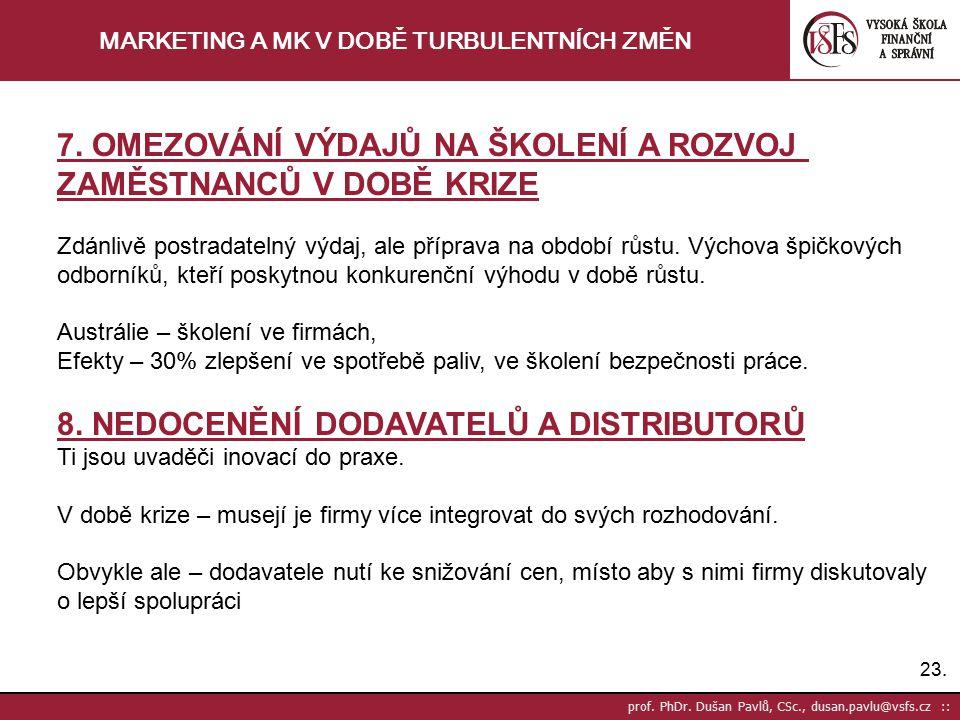 23. prof. PhDr. Dušan Pavlů, CSc., dusan.pavlu@vsfs.cz :: MARKETING A MK V DOBĚ TURBULENTNÍCH ZMĚN 7. OMEZOVÁNÍ VÝDAJŮ NA ŠKOLENÍ A ROZVOJ ZAMĚSTNANCŮ