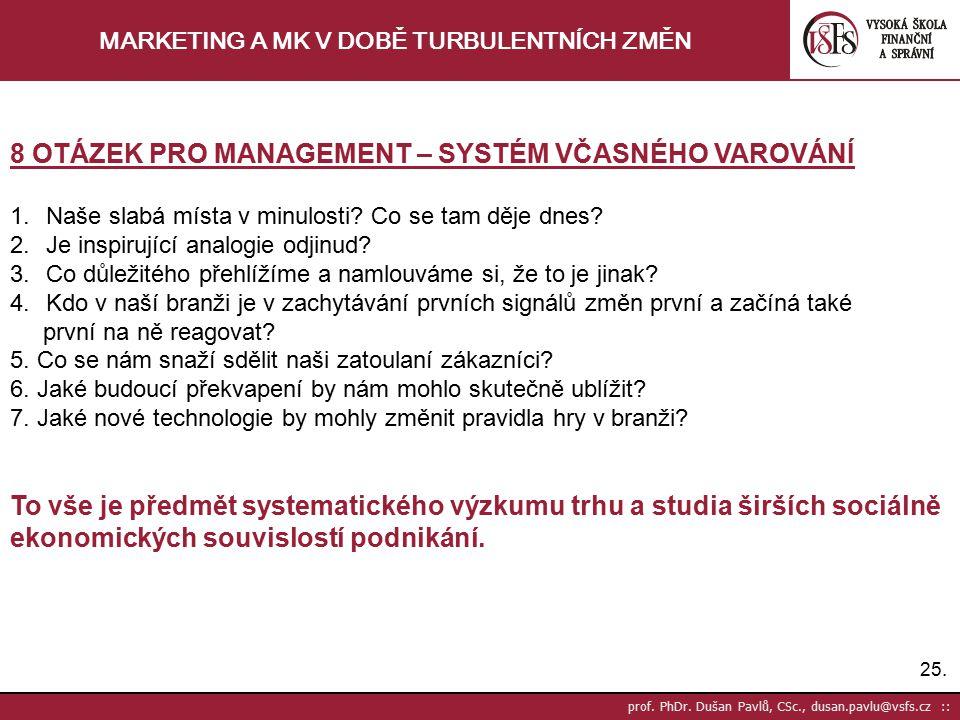 25. prof. PhDr. Dušan Pavlů, CSc., dusan.pavlu@vsfs.cz :: MARKETING A MK V DOBĚ TURBULENTNÍCH ZMĚN 8 OTÁZEK PRO MANAGEMENT – SYSTÉM VČASNÉHO VAROVÁNÍ