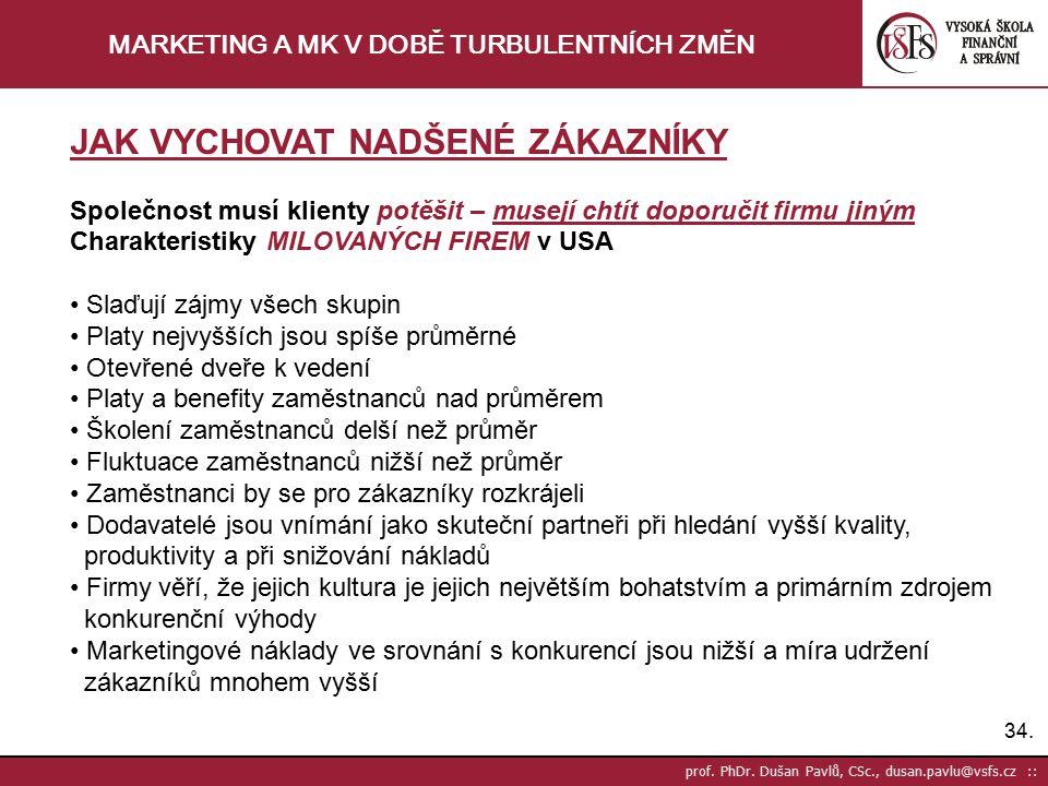 34. prof. PhDr. Dušan Pavlů, CSc., dusan.pavlu@vsfs.cz :: MARKETING A MK V DOBĚ TURBULENTNÍCH ZMĚN JAK VYCHOVAT NADŠENÉ ZÁKAZNÍKY Společnost musí klie
