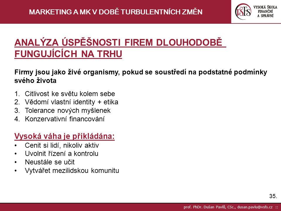 35. prof. PhDr. Dušan Pavlů, CSc., dusan.pavlu@vsfs.cz :: MARKETING A MK V DOBĚ TURBULENTNÍCH ZMĚN ANALÝZA ÚSPĚŠNOSTI FIREM DLOUHODOBĚ FUNGUJÍCÍCH NA