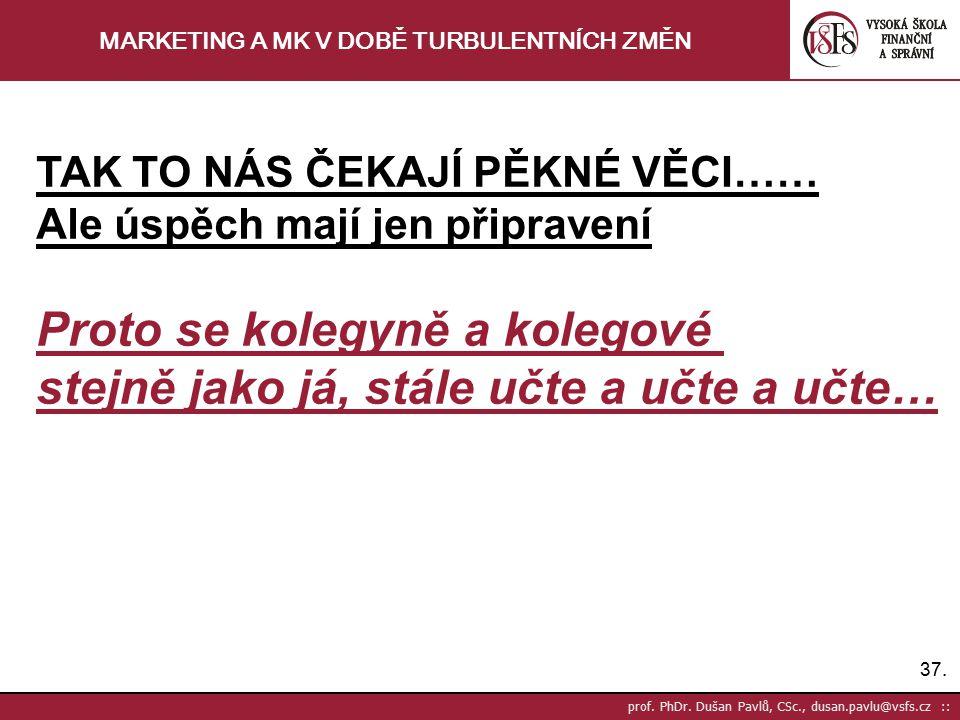 37. prof. PhDr. Dušan Pavlů, CSc., dusan.pavlu@vsfs.cz :: MARKETING A MK V DOBĚ TURBULENTNÍCH ZMĚN TAK TO NÁS ČEKAJÍ PĚKNÉ VĚCI…… Ale úspěch mají jen