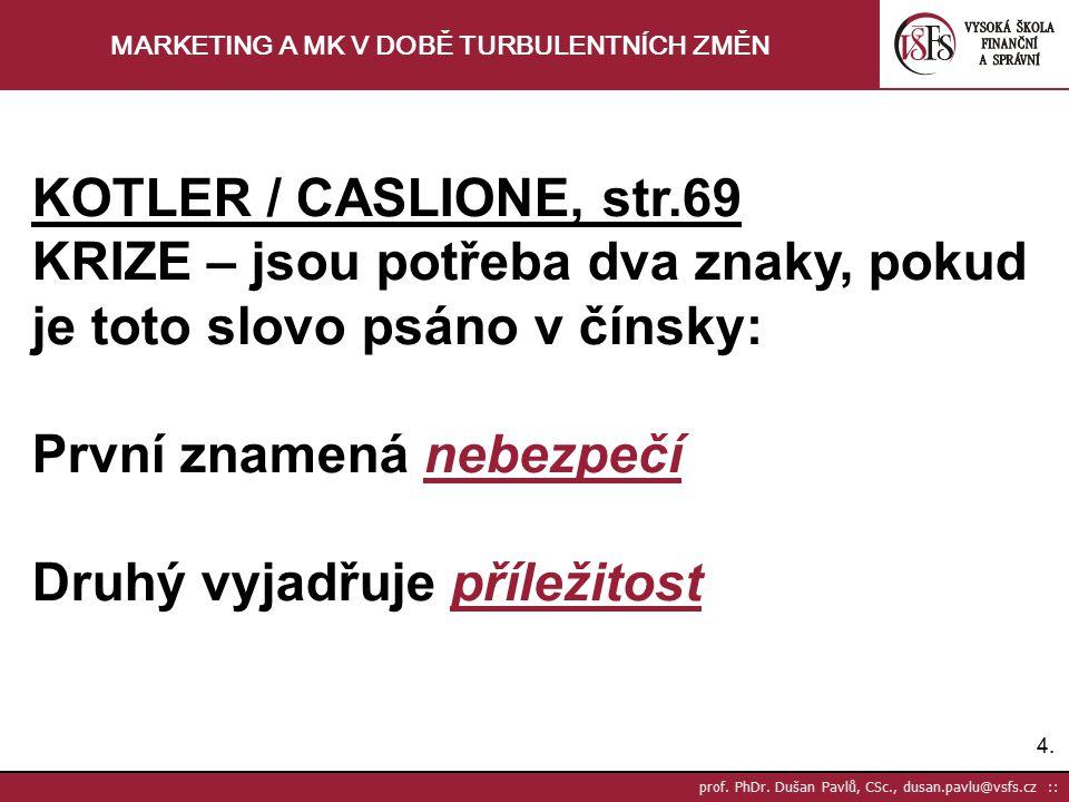 4.4. prof. PhDr. Dušan Pavlů, CSc., dusan.pavlu@vsfs.cz :: MARKETING A MK V DOBĚ TURBULENTNÍCH ZMĚN KOTLER / CASLIONE, str.69 KRIZE – jsou potřeba dva