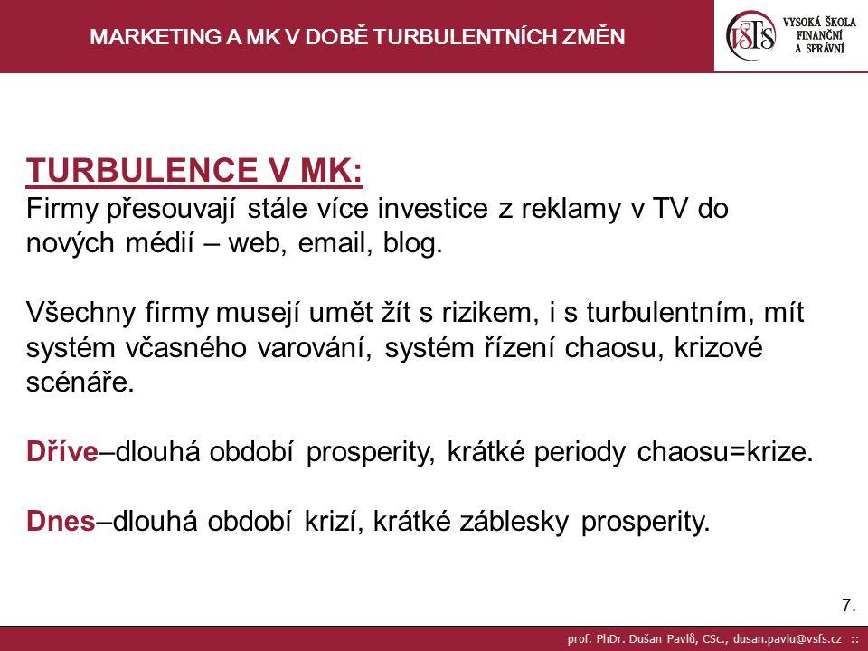 7.7. prof. PhDr. Dušan Pavlů, CSc., dusan.pavlu@vsfs.cz :: MARKETING A MK V DOBĚ TURBULENTNÍCH ZMĚN TURBULENCE V MK: Firmy přesouvají stále více inves
