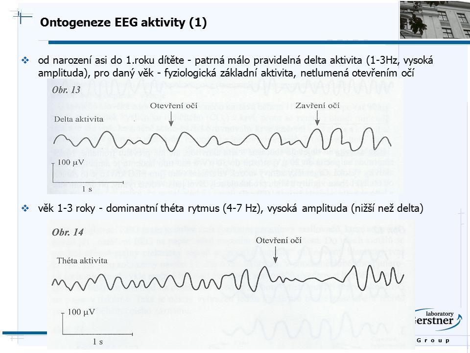 B i o c y b e r n e t i c s G r o u p Ontogeneze EEG aktivity (1)  od narození asi do 1.roku dítěte - patrná málo pravidelná delta aktivita (1-3Hz, v