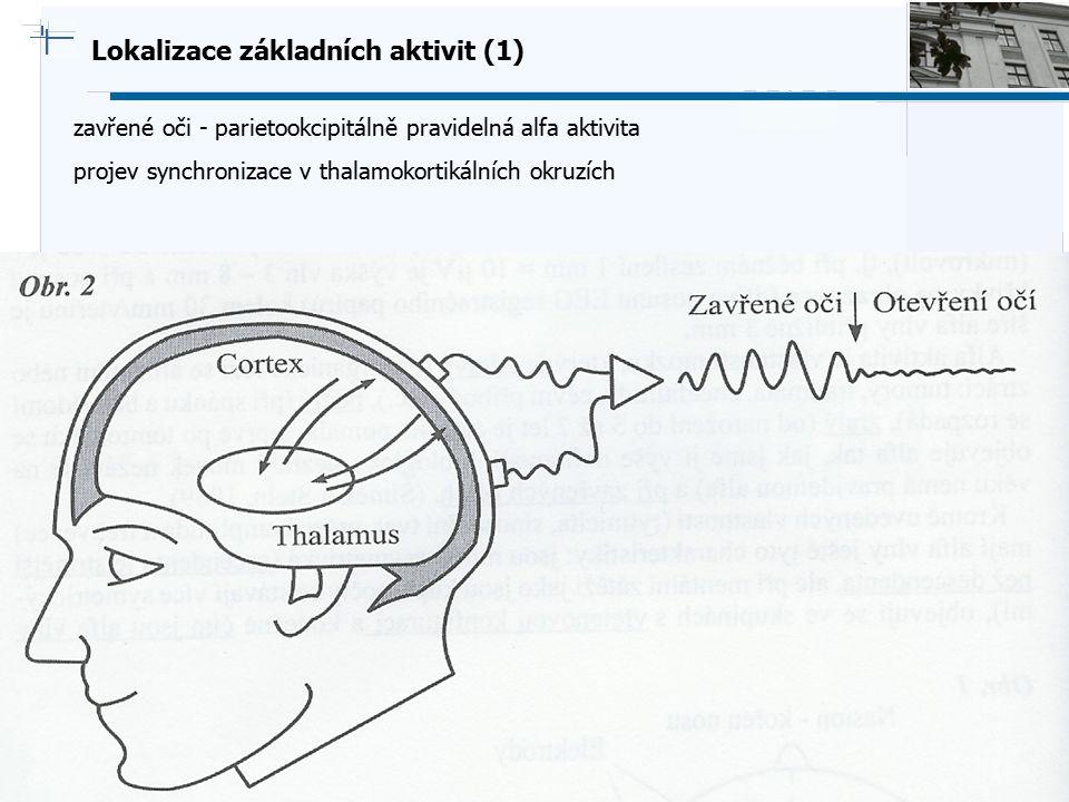 B i o c y b e r n e t i c s G r o u p Lokalizace základních aktivit (1) zavřené oči - parietookcipitálně pravidelná alfa aktivita projev synchronizace