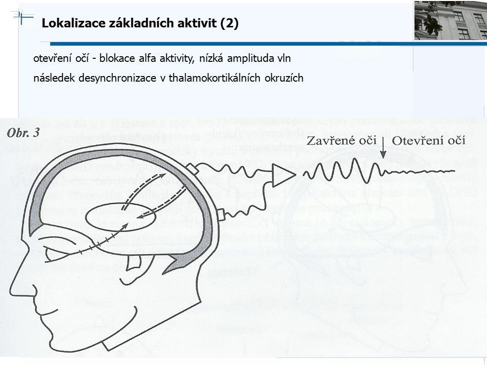B i o c y b e r n e t i c s G r o u p Lokalizace základních aktivit (2) otevření očí - blokace alfa aktivity, nízká amplituda vln následek desynchroni