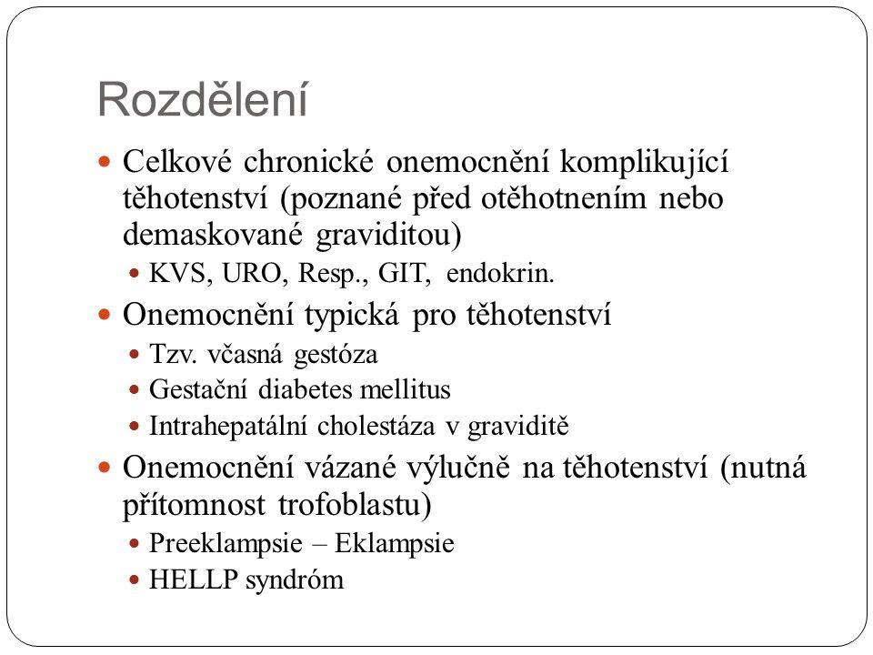 Rozdělení Celkové chronické onemocnění komplikující těhotenství (poznané před otěhotnením nebo demaskované graviditou) KVS, URO, Resp., GIT, endokrin.
