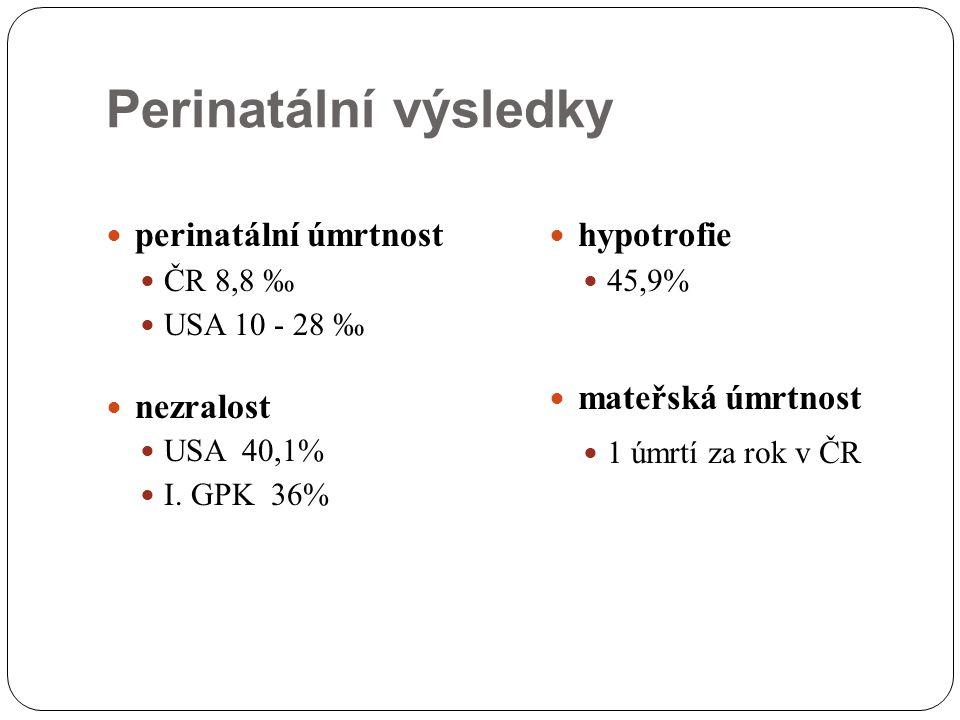 Perinatální výsledky perinatální úmrtnost ČR 8,8 ‰ USA 10 - 28 ‰ nezralost USA 40,1% I. GPK 36% hypotrofie 45,9% mateřská úmrtnost 1 úmrtí za rok v ČR