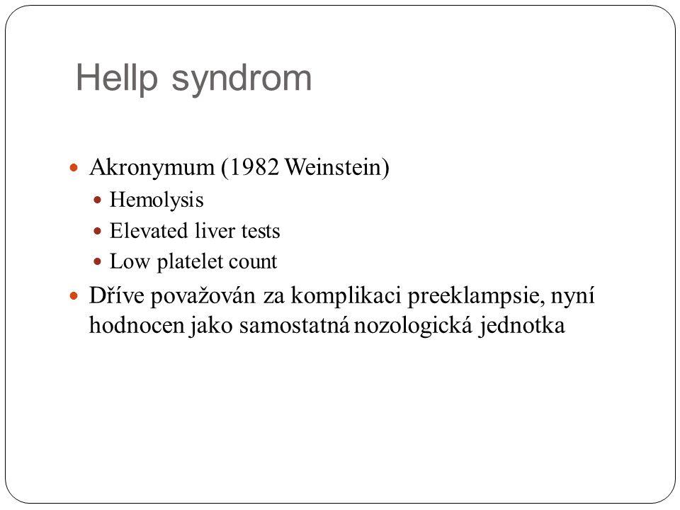 Hellp syndrom Akronymum (1982 Weinstein) Hemolysis Elevated liver tests Low platelet count Dříve považován za komplikaci preeklampsie, nyní hodnocen j
