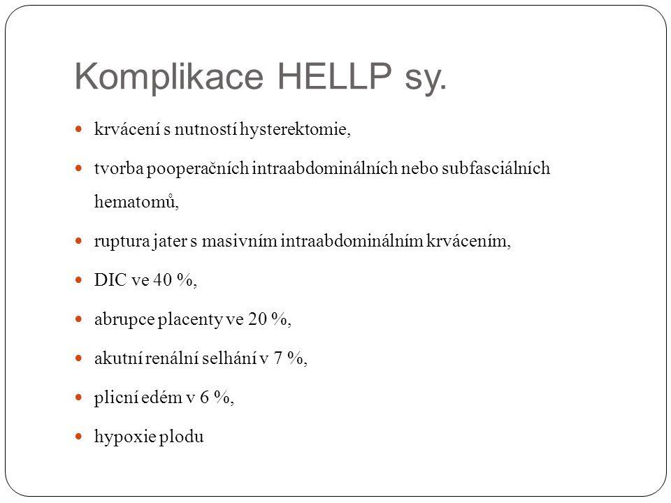 Komplikace HELLP sy. krvácení s nutností hysterektomie, tvorba pooperačních intraabdominálních nebo subfasciálních hematomů, ruptura jater s masivním