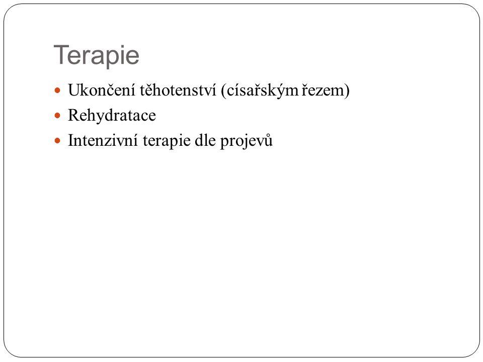 Terapie Ukončení těhotenství (císařským řezem) Rehydratace Intenzivní terapie dle projevů