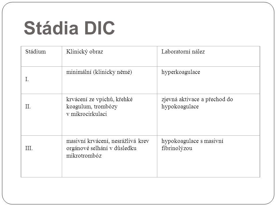 Stádia DIC StádiumKlinický obrazLaboratorní nález I. minimální (klinicky němé)hyperkoagulace II. krvácení ze vpichů, křehké koagulum, trombózy v mikro