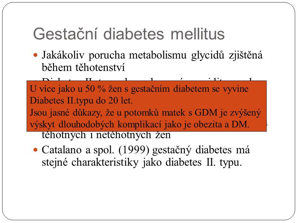Gestačný diabetes mellitus Gravidita Zvýšené bazální hladiny inzulínu Redukce periférního vychytávání glukozy Suprese glukagónové aktivity HPL – zajištění kontiuální dodávky glukozy pro plod na úkor matky