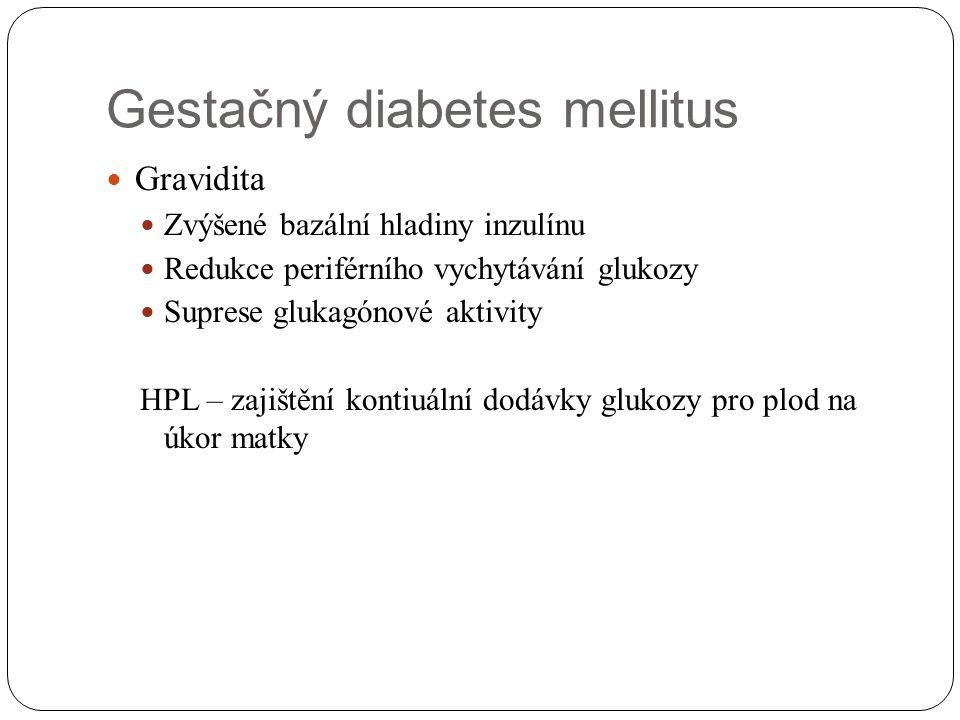 Gestačný diabetes mellitus Gravidita Zvýšené bazální hladiny inzulínu Redukce periférního vychytávání glukozy Suprese glukagónové aktivity HPL – zajiš