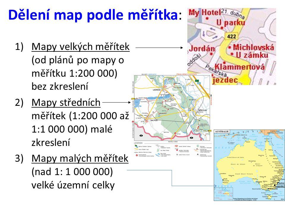 1)Mapy malého měřít1)Mapy malého měřítka Př.Mapa Afriky o měřítku 1:40 000 000 tj.