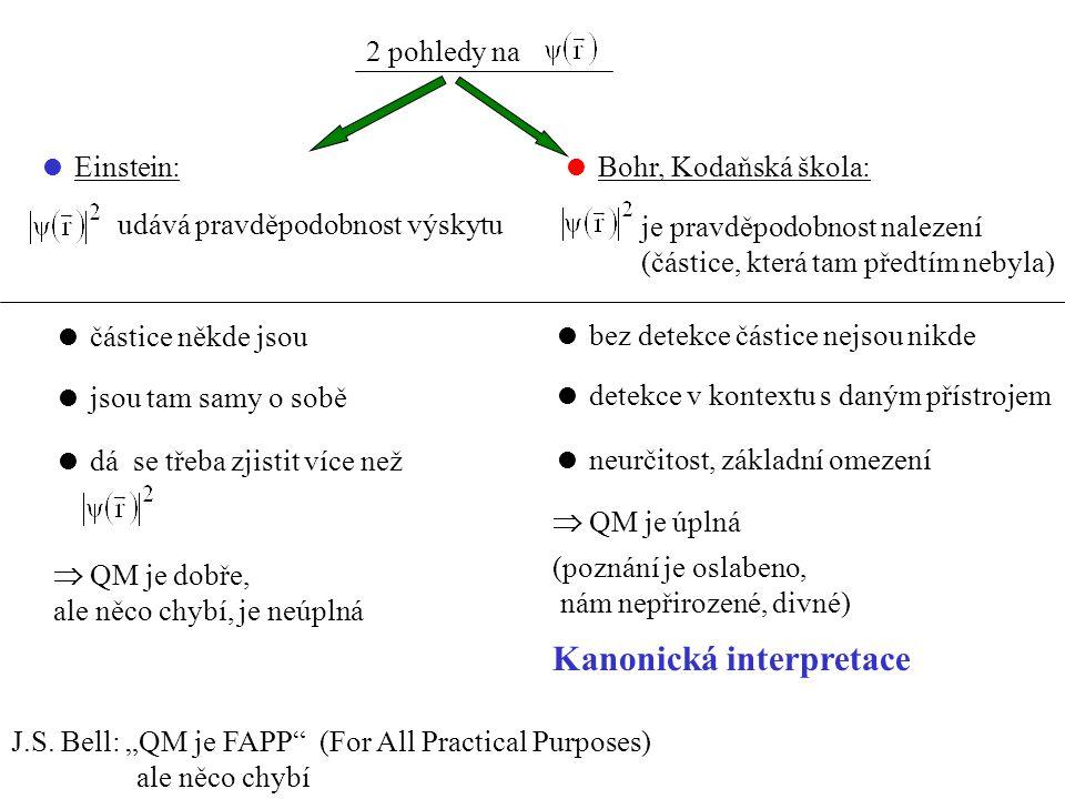 2 pohledy na  Einstein: udává pravděpodobnost výskytu  Bohr, Kodaňská škola: je pravděpodobnost nalezení (částice, která tam předtím nebyla)  částice někde jsou  jsou tam samy o sobě  dá se třeba zjistit více než  QM je dobře, ale něco chybí, je neúplná  bez detekce částice nejsou nikde  detekce v kontextu s daným přístrojem  neurčitost, základní omezení  QM je úplná (poznání je oslabeno, nám nepřirozené, divné) Kanonická interpretace J.S.