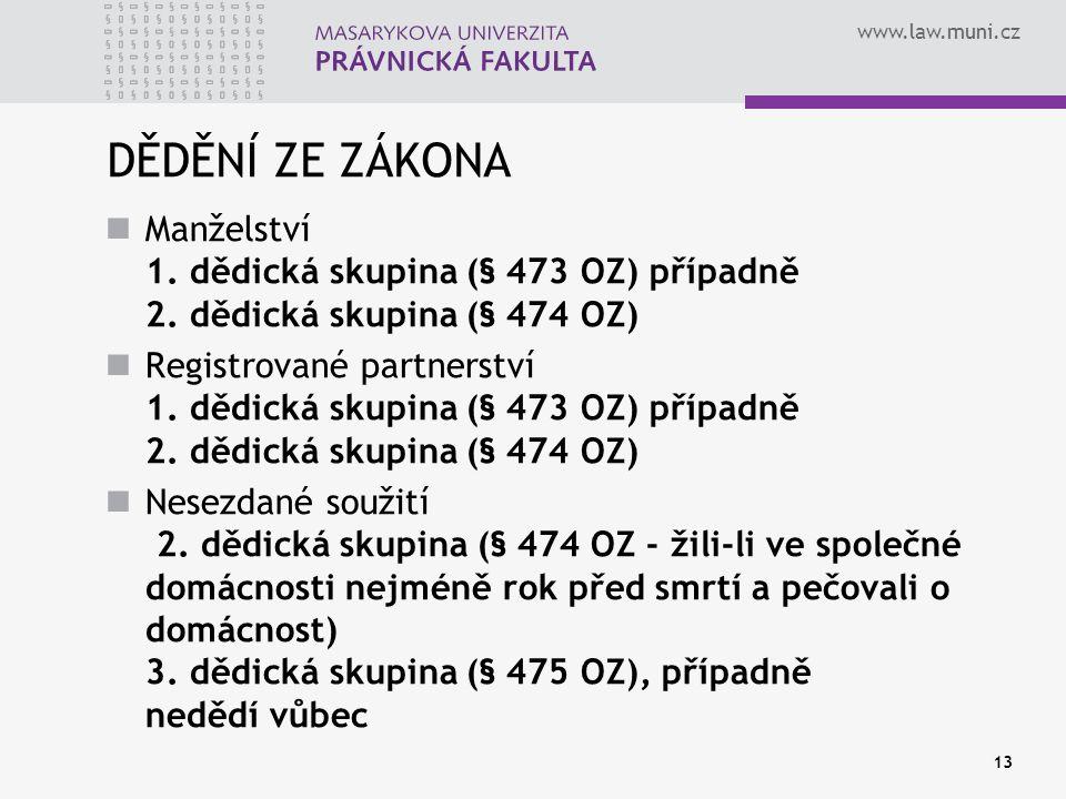 www.law.muni.cz 13 DĚDĚNÍ ZE ZÁKONA Manželství 1. dědická skupina (§ 473 OZ) případně 2. dědická skupina (§ 474 OZ) Registrované partnerství 1. dědick