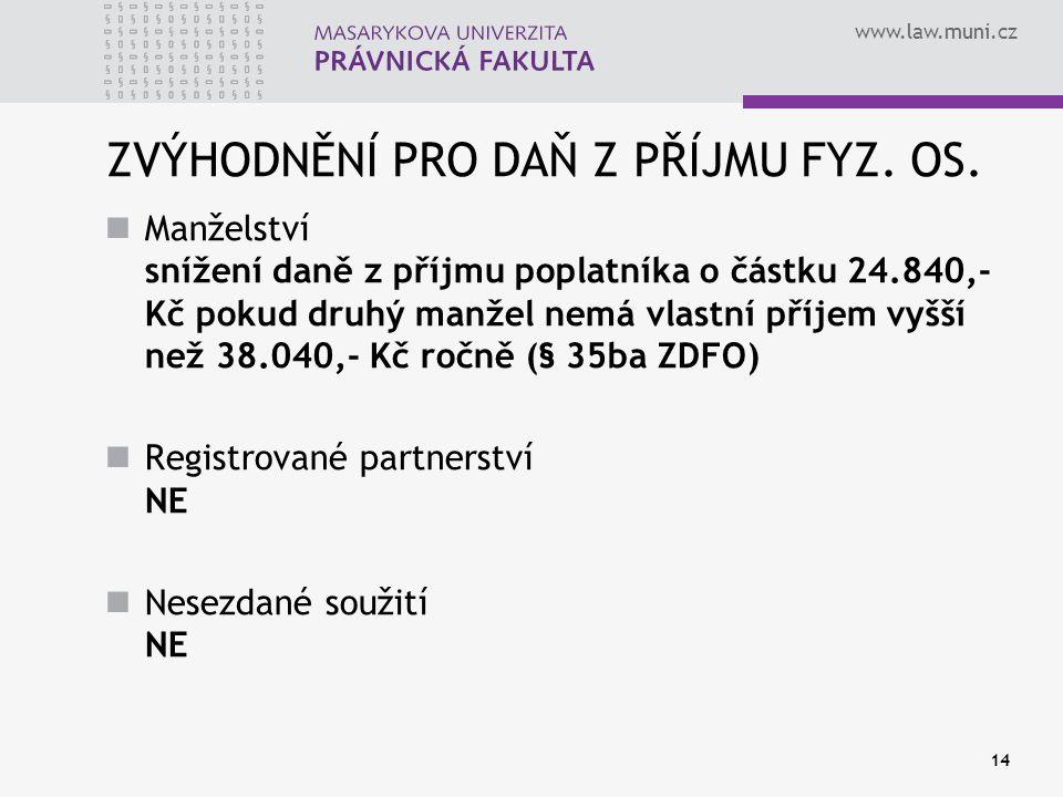 www.law.muni.cz 14 ZVÝHODNĚNÍ PRO DAŇ Z PŘÍJMU FYZ. OS. Manželství snížení daně z příjmu poplatníka o částku 24.840,- Kč pokud druhý manžel nemá vlast