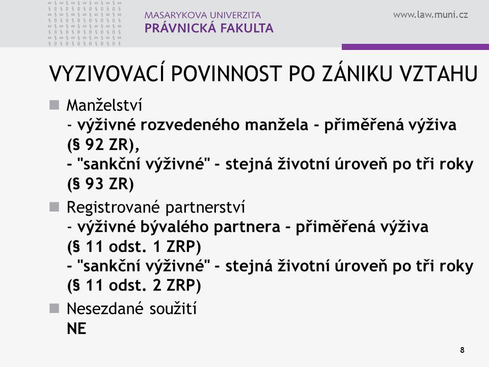 www.law.muni.cz 8 VYZIVOVACÍ POVINNOST PO ZÁNIKU VZTAHU Manželství - výživné rozvedeného manžela - přiměřená výživa (§ 92 ZR), -