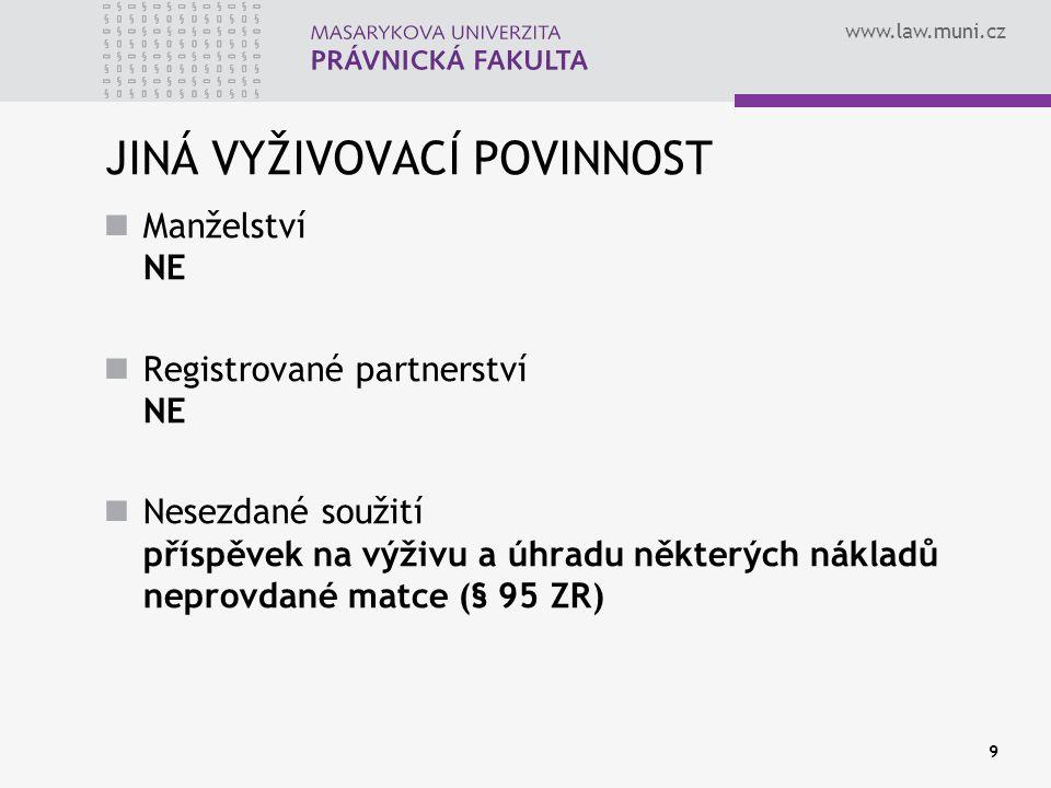 www.law.muni.cz 9 JINÁ VYŽIVOVACÍ POVINNOST Manželství NE Registrované partnerství NE Nesezdané soužití příspěvek na výživu a úhradu některých nákladů