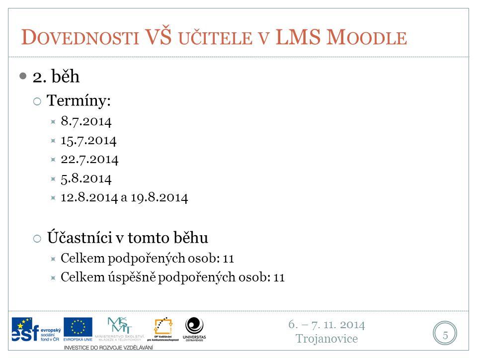 6.– 7. 11. 2014 Trojanovice D OVEDNOSTI VŠ UČITELE V LMS M OODLE 6 3.