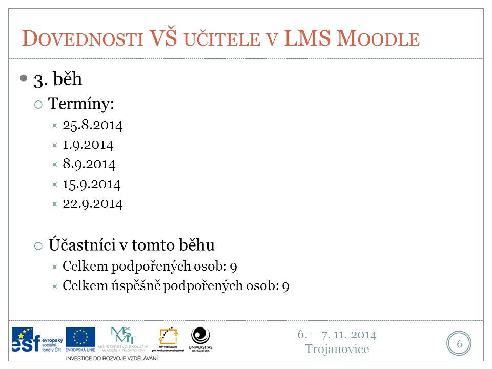 6.– 7. 11. 2014 Trojanovice D OVEDNOSTI VŠ UČITELE V LMS M OODLE 7 4.