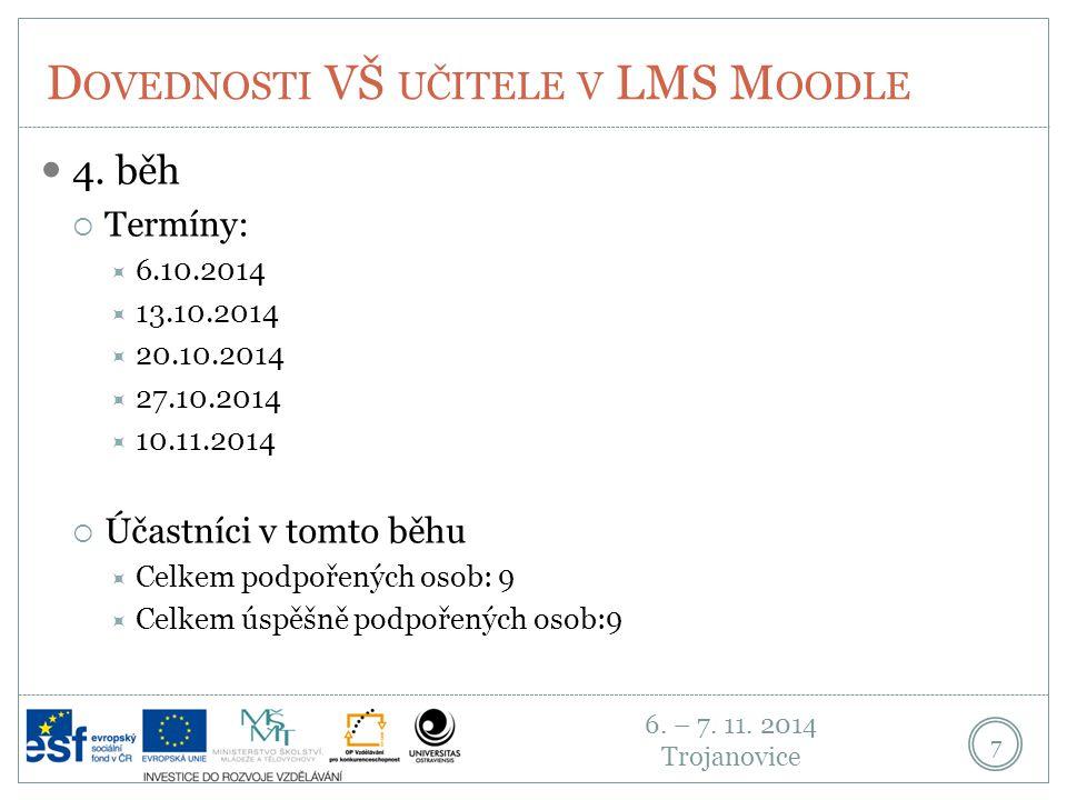 6.– 7. 11. 2014 Trojanovice D OVEDNOSTI VŠ UČITELE V LMS M OODLE 8 5.