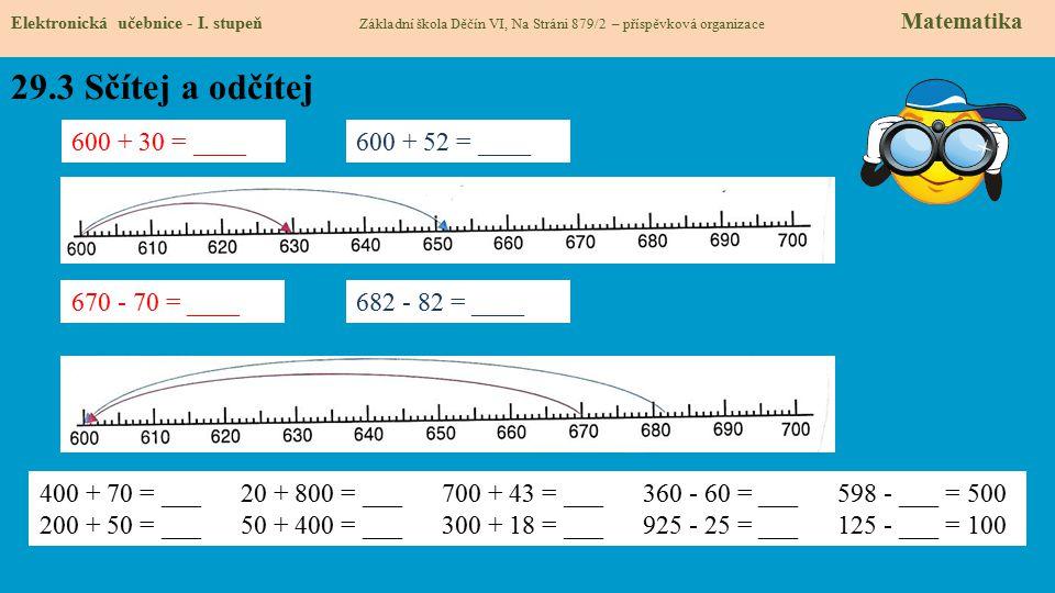 29.3 Sčítej a odčítej Elektronická učebnice - I. stupeň Základní škola Děčín VI, Na Stráni 879/2 – příspěvková organizace Matematika 600 + 30 = ____60