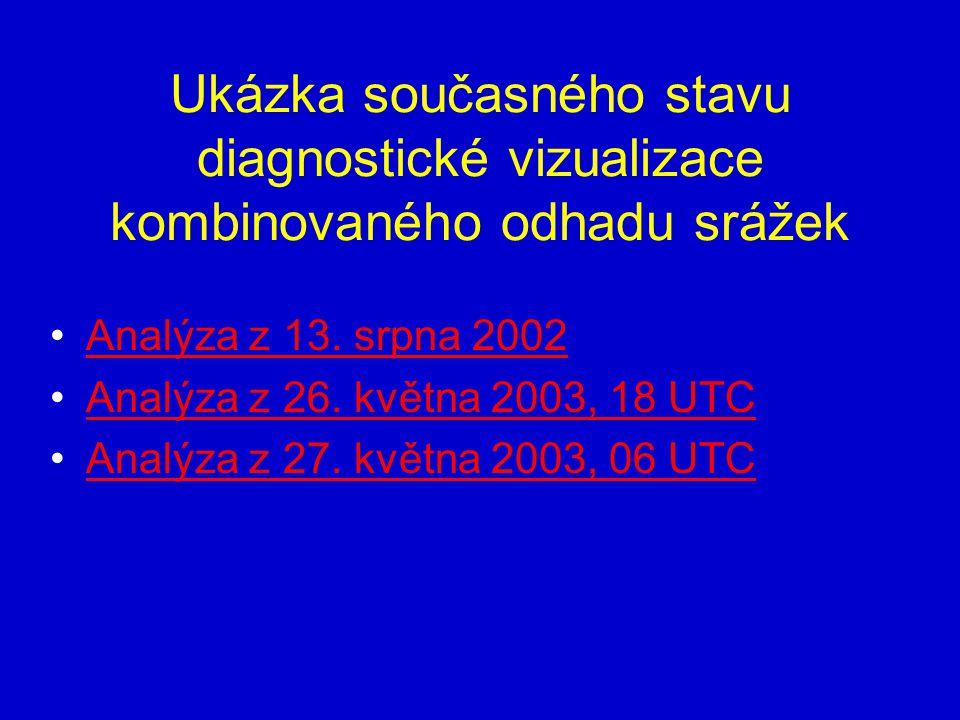 Ukázka současného stavu diagnostické vizualizace kombinovaného odhadu srážek Analýza z 13. srpna 2002 Analýza z 26. května 2003, 18 UTC Analýza z 27.