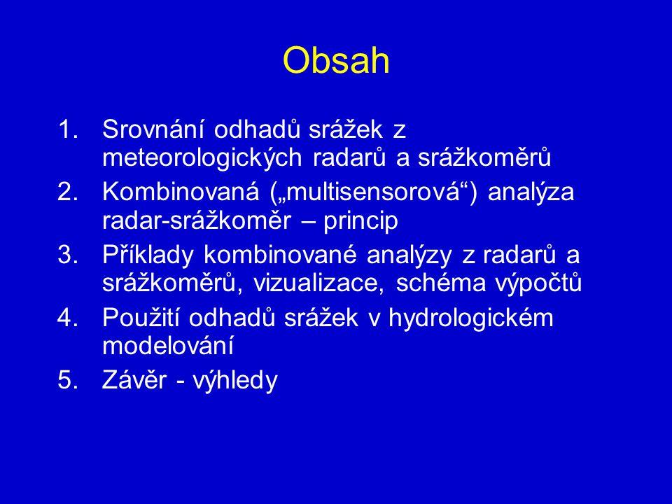 """Obsah 1.Srovnání odhadů srážek z meteorologických radarů a srážkoměrů 2.Kombinovaná (""""multisensorová"""") analýza radar-srážkoměr – princip 3.Příklady ko"""
