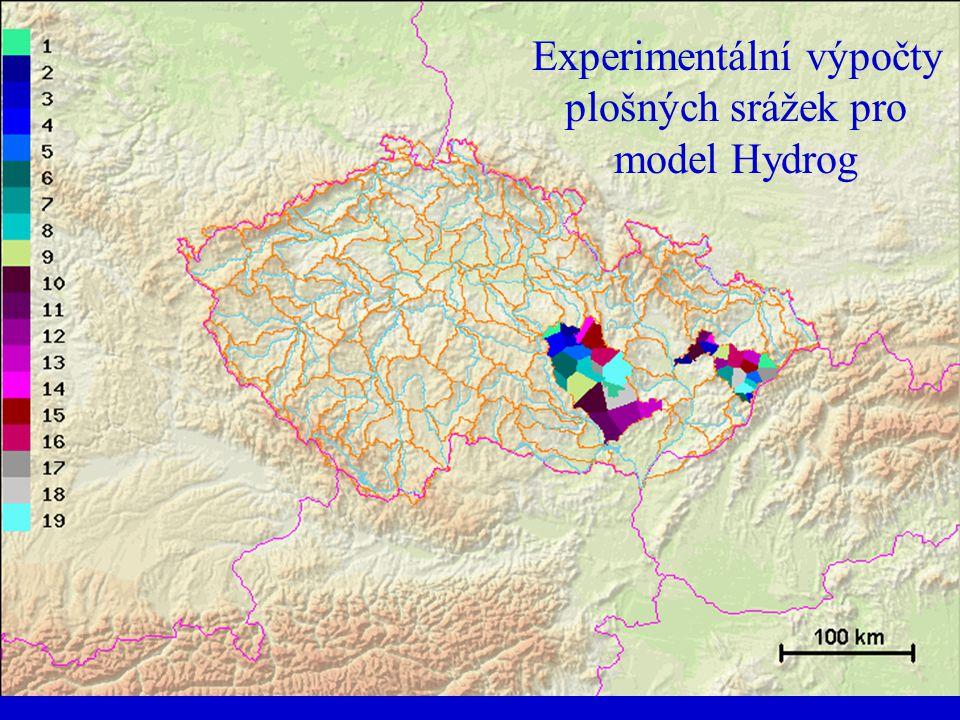 Experimentální výpočty plošných srážek pro model Hydrog