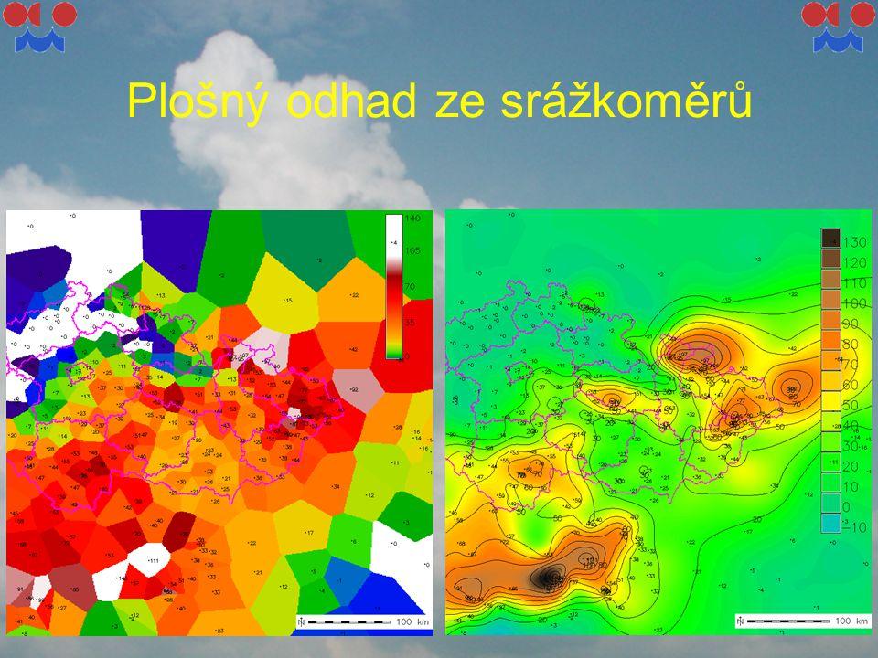 Kombinovaná informace radar-srážkoměr – multisensorová analýza Výhoda radaru při odhadu srážek: plošné pokrytí, rychlé vyhodnocení údajů Výhoda srážkoměrů: poměrně značná přesnost v lokalitě měření Nevýhoda srážkoměrů: problém reprezentativnosti pro okolí, malá operativnost (s výjimkou automatických stanic s dálkovým přenosem)