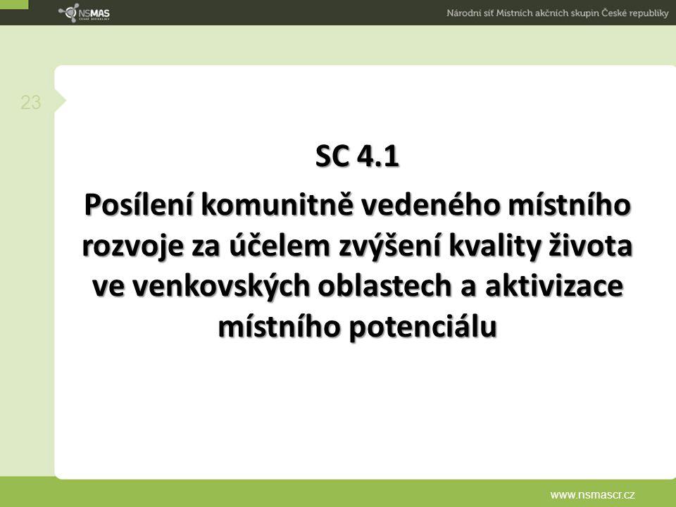 SC 4.1 Posílení komunitně vedeného místního rozvoje za účelem zvýšení kvality života ve venkovských oblastech a aktivizace místního potenciálu www.nsm