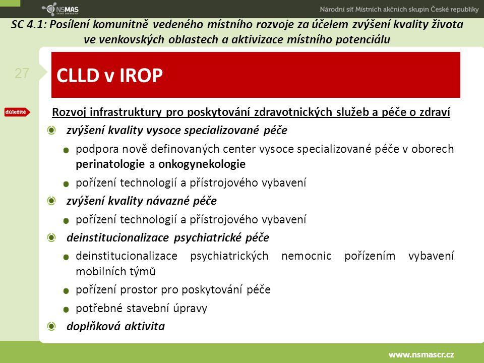 CLLD v IROP Rozvoj infrastruktury pro poskytování zdravotnických služeb a péče o zdraví zvýšení kvality vysoce specializované péče podpora nově defino