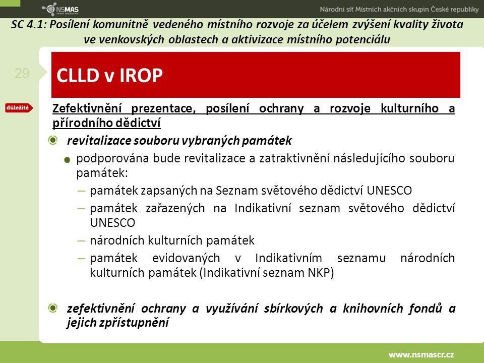 CLLD v IROP Zefektivnění prezentace, posílení ochrany a rozvoje kulturního a přírodního dědictví revitalizace souboru vybraných památek podporována bu