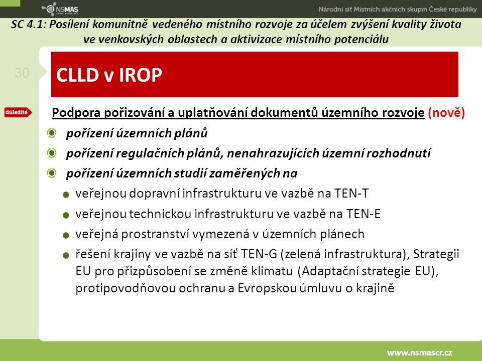 CLLD v IROP Podpora pořizování a uplatňování dokumentů územního rozvoje (nově) pořízení územních plánů pořízení regulačních plánů, nenahrazujících úze