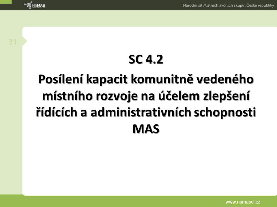 SC 4.2 Posílení kapacit komunitně vedeného místního rozvoje na účelem zlepšení řídících a administrativních schopnosti MAS www.nsmascr.cz 31