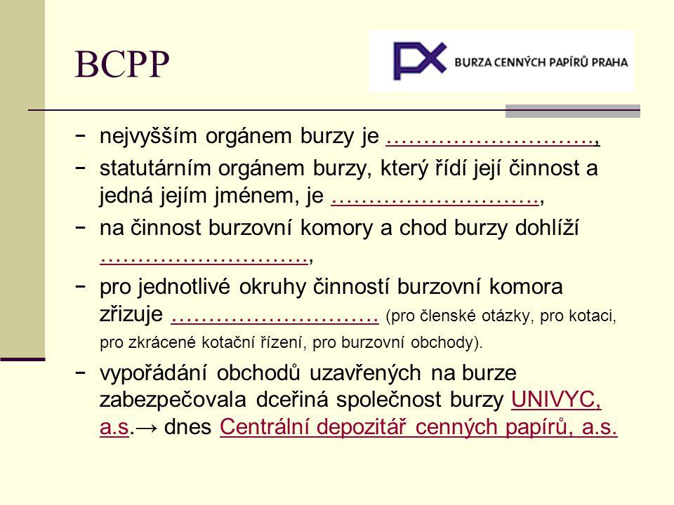 BCPP − nejvyšším orgánem burzy je ………………………., − statutárním orgánem burzy, který řídí její činnost a jedná jejím jménem, je ………………………., − na činnost b
