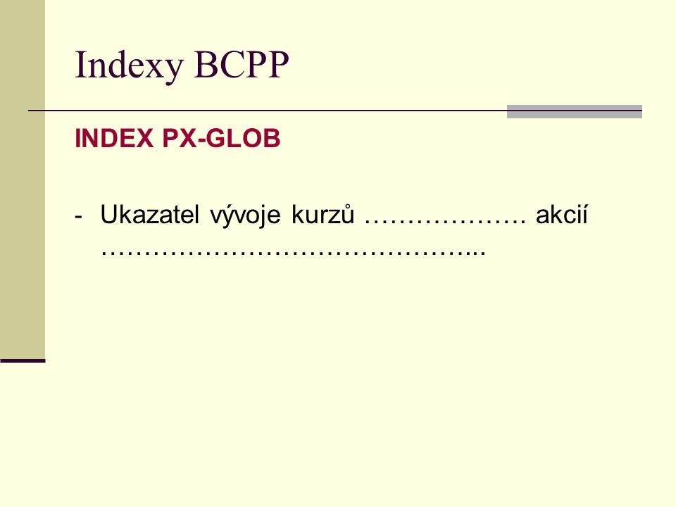 Indexy BCPP INDEX PX-GLOB - Ukazatel vývoje kurzů ………………. akcií ……………………………………...