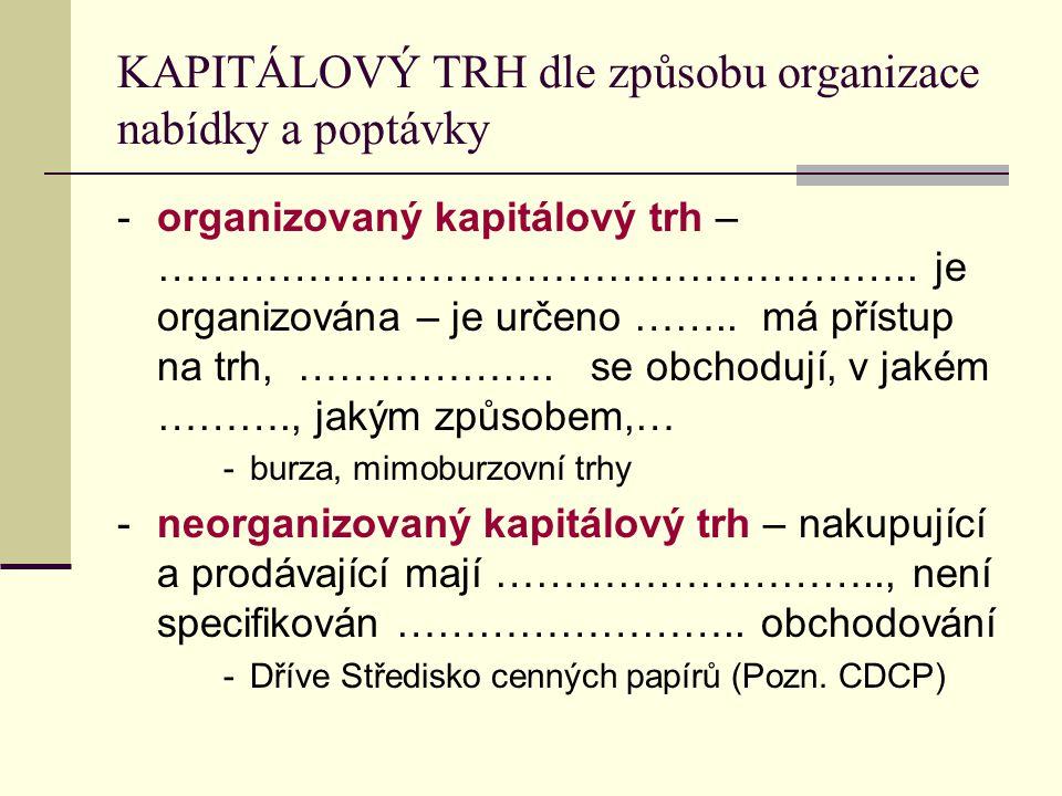 KAPITÁLOVÝ TRH dle způsobu organizace nabídky a poptávky -organizovaný kapitálový trh – ……………………………………………….. je organizována – je určeno …….. má příst