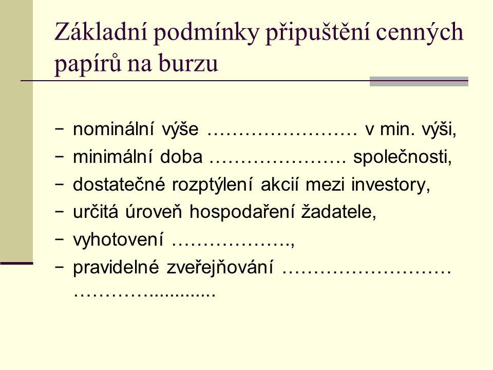 Základní podmínky připuštění cenných papírů na burzu − nominální výše …………………… v min. výši, − minimální doba …………………. společnosti, − dostatečné rozptý