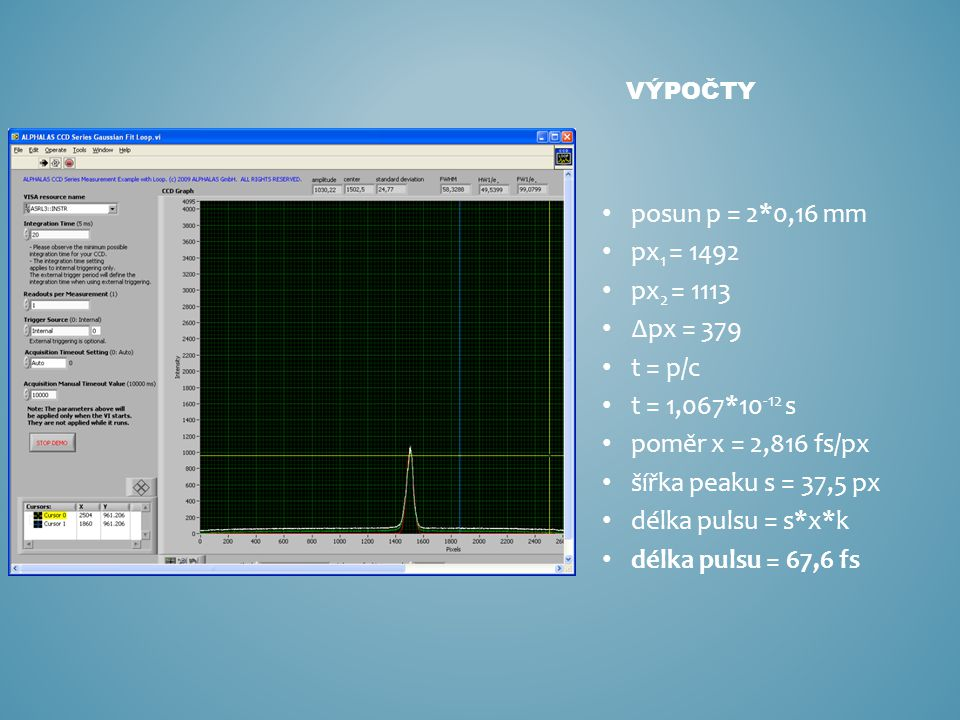 posun p = 2*0,16 mm px 1 = 1492 px 2 = 1113 ∆px = 379 t = p/c t = 1,067*10 -12 s poměr x = 2,816 fs/px šířka peaku s = 37,5 px délka pulsu = s*x*k dél