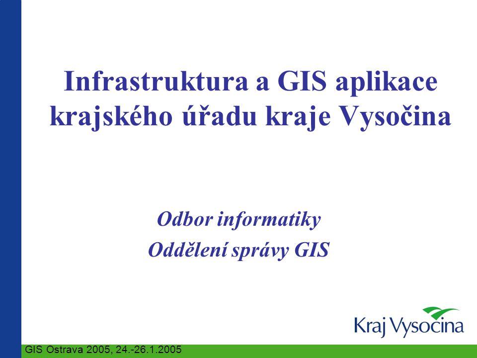 Infrastruktura a GIS aplikace krajského úřadu kraje Vysočina Odbor informatiky Oddělení správy GIS GIS Ostrava 2005, 24.-26.1.2005