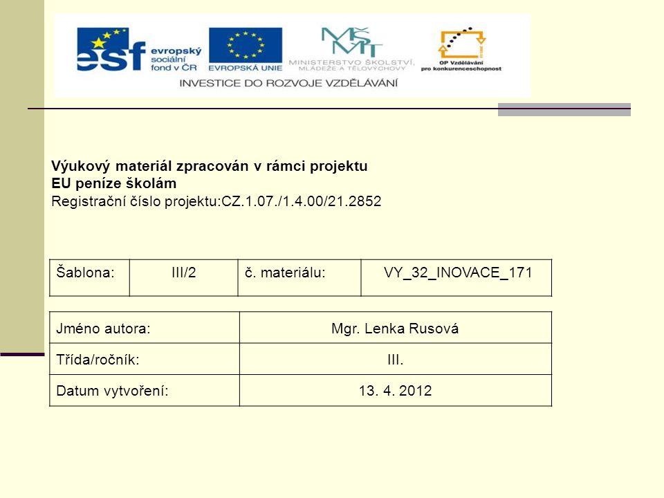 Výukový materiál zpracován v rámci projektu EU peníze školám Registrační číslo projektu:CZ.1.07./1.4.00/21.2852 Šablona:III/2č.